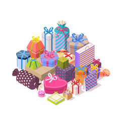 pile of colorful gift boxes vector image