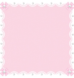 white lace background and pearls vector image vector image