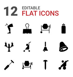 12 metallic icons vector