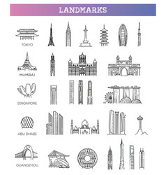 asian landmarks and travel destinations vector image