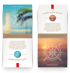 Banners with line drawing nautical sign vector