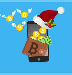 Bitcoin payment on christmas holidays concept vector