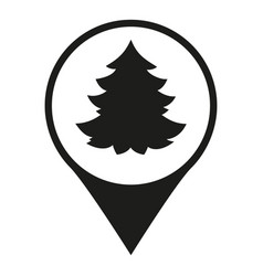 black and white christmas tree market map sign vector image