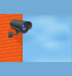 Black security camera on red brick wall with blue vector