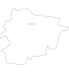 Black White Andorra Outline Map vector image