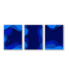 blue abstract paper cut effect flyer cards vector image