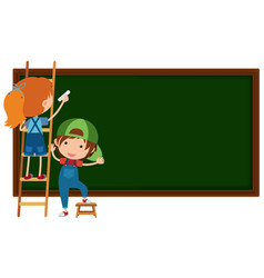 Boy and girl writing on blackboard vector