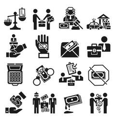 Bribery icon set simple style vector