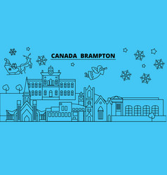 canada brampton winter holidays skyline merry vector image