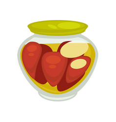 Canned mushrooms or red pepper in small jar vector