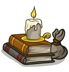 Cartoon old books and candle icon vector