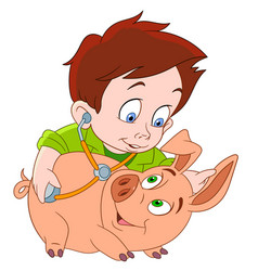 cartoon veterinarian and pig vector image