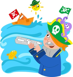 child pretending to be a pirate vector image