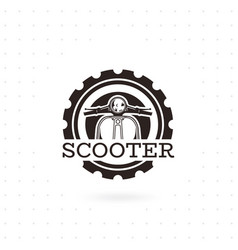 classic scooter emblem vector image
