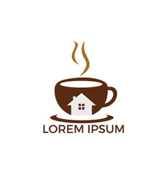 coffee cafe house logo vector image