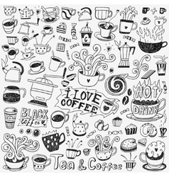 coffee cups doodles set vector image