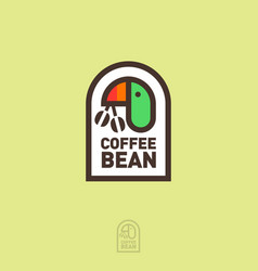 coffee logo parrot holds coffee beans vector image
