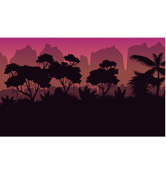 collection rain jungle scenery silhouette style vector image