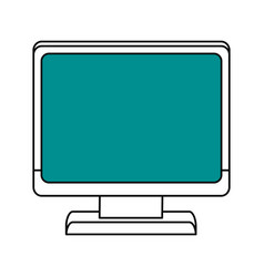 Color silhouette cartoon front view computer with vector