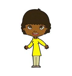 comic cartoon happy woman vector image