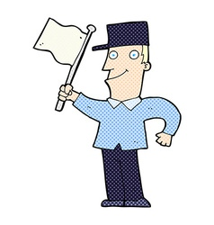 Comic cartoon man waving flag vector