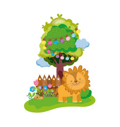 Cute and little lion character vector