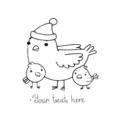 Cute cartoon Bird with chicks in the hat vector image