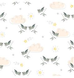 cute little birds in flight seamless pattern vector image