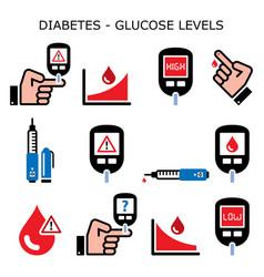 Diabetes diabetic healthcare color icons vector