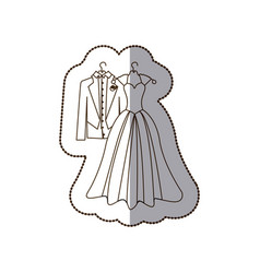 Elegant jacket and dress married icon vector