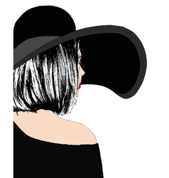 Elegant woman in black dress vector image