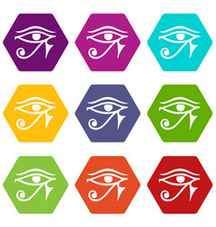 Eye of horus egypt deity icon set color hexahedron vector