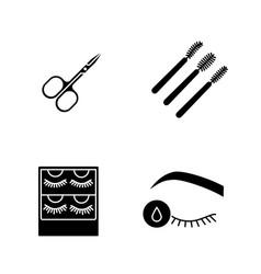 Eyelash extension glyph icons set vector