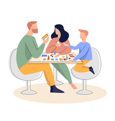 Family playing a board game flat vector