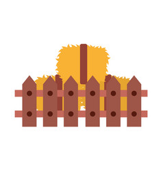 Fence wooden with straw blocks vector