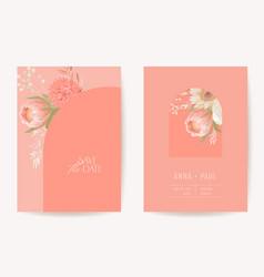 floral wedding invitation botanical card boho dry vector image
