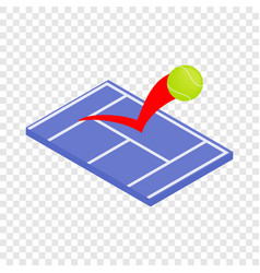 Flying tennis ball on a blue court isometric icon vector