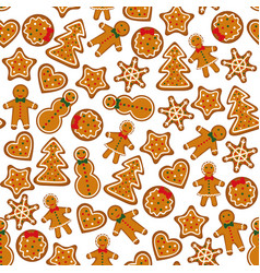 gingerbreads on dark red background vector image