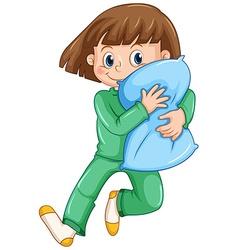 Girl hugging pillow at slumber party vector image