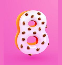 Glazed donut font number 8 number eight cake vector
