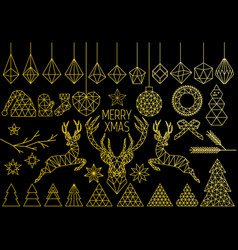 gold geometric christmas set vector image