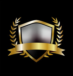 Golden shield with laurel wreath and golden ribbon vector