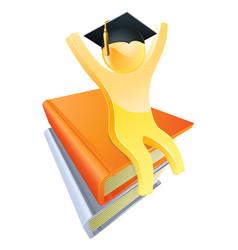graduate books gold person vector image