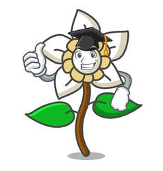 Graduation jasmine flower character cartoon vector
