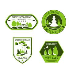 Green nature ecology company icons set vector