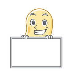 Grinning with board soy bean character cartoon vector