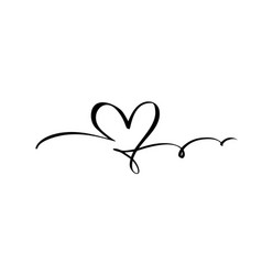 Hand drawn heart love sign romantic calligraphy vector