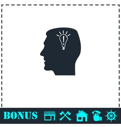 Head idea icon flat vector