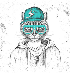 hipster animal cat dressed in cap like rapper vector image