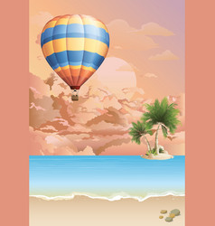 Hot air balloon at dawn vector